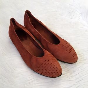 Arche Orange Perforated Leather Flats